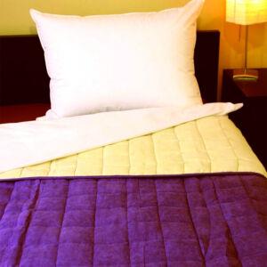 Két oldalon bőrhatású ágytakaró - törtfehér-lila