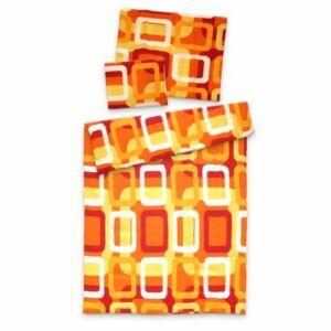 3 részes krepp ágyneműgarnitúra Narancs-Piros