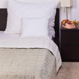 Két oldalon bőrhatású ágytakaró - moha-krém