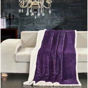 Teddy meleg serpa takaró - 150*200 cm - lila - két oldalas