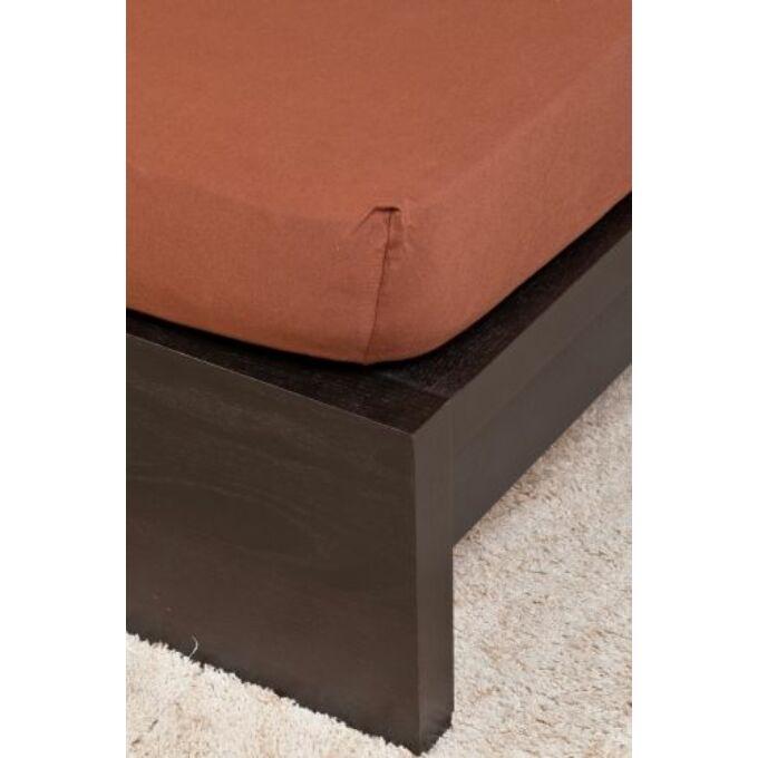 Jersey gumis lepedő 200×200, csokibarna