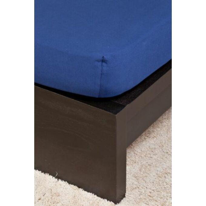 Jersey gumis lepedő 100×200, sötétkék