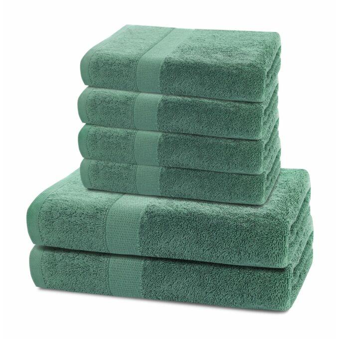 Marina 100% pamut törölköző - 6 db-os szett (2 db 70*140 cm + 4 db 50*100 cm) - zöld