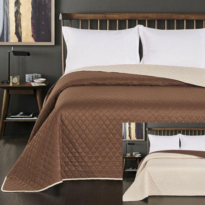 Axel ágytakaró - 220*240 cm - barna-krém, kétoldalas