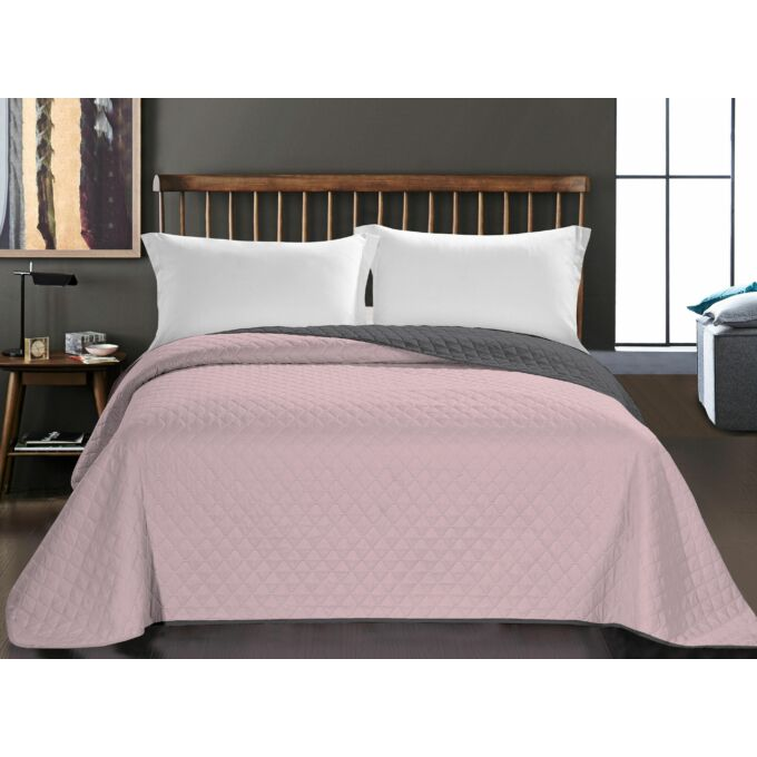 Axel ágytakaró - 260*280 - rózsaszín-szürke - kétoldalas