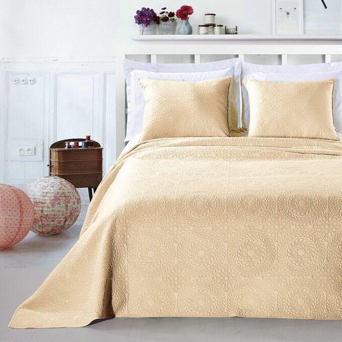 Elodie ágytakaró - 240*260 - bézs + 2 db díszpárna huzat (2*50*60 cm)
