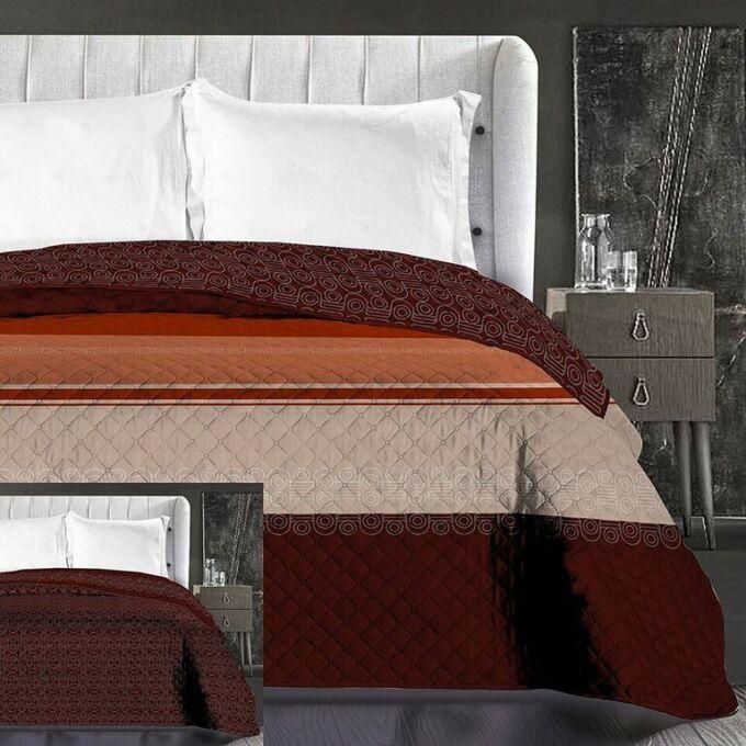 Geoffrey ágytakaró - 170*210 cm - narancs-barna, kétoldalas