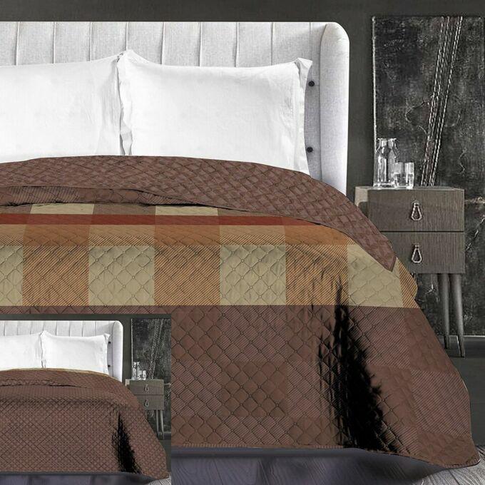 Arthur ágytakaró - 240*260 cm - barna-kockás, kétoldalas