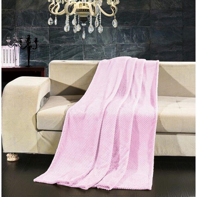 Henry bordázott pléd - 70*150 cm - púder rózsaszín