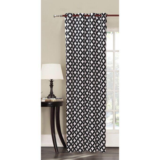 Mandala kész függöny - fekete-fehér mintás - 140*235 cm
