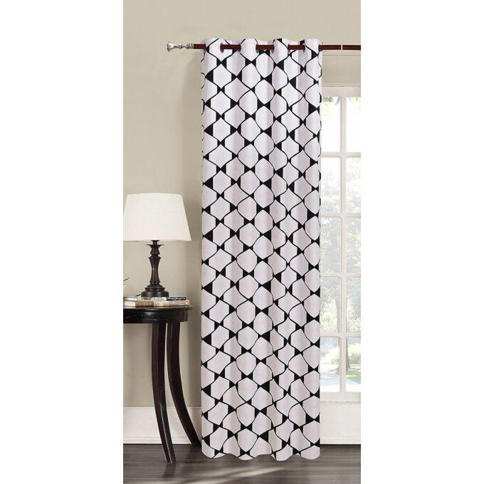 Rhombuses kész függöny - fehér-fekete - 140*245 cm