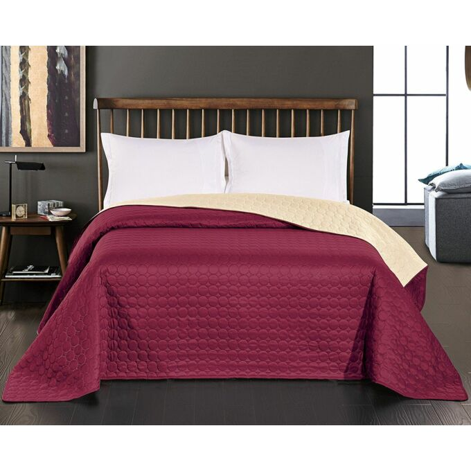 Salice ágytakaró - 220*240 cm - burgundi-krém, kétoldalas
