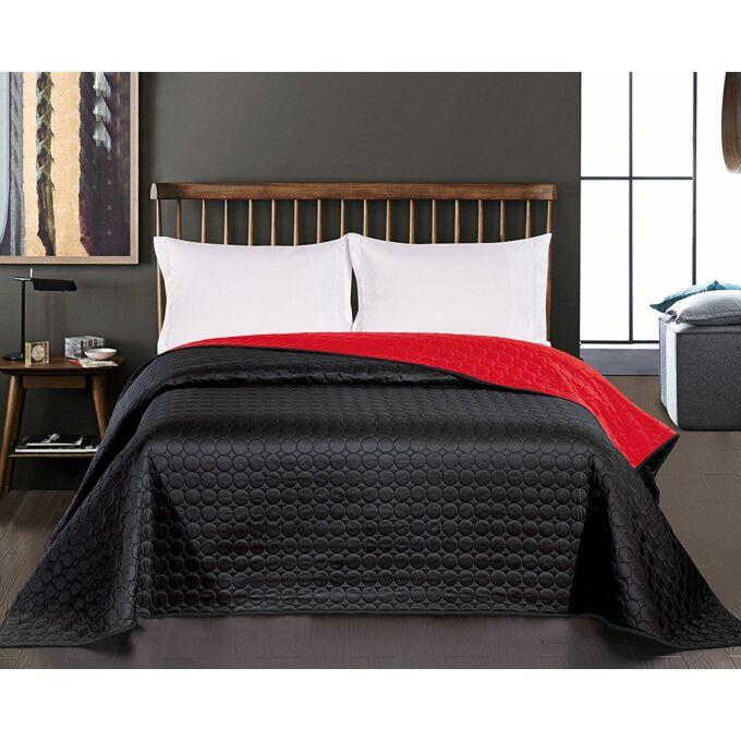 Salice ágytakaró - 240*260 cm - fekete-piros, kétoldalas