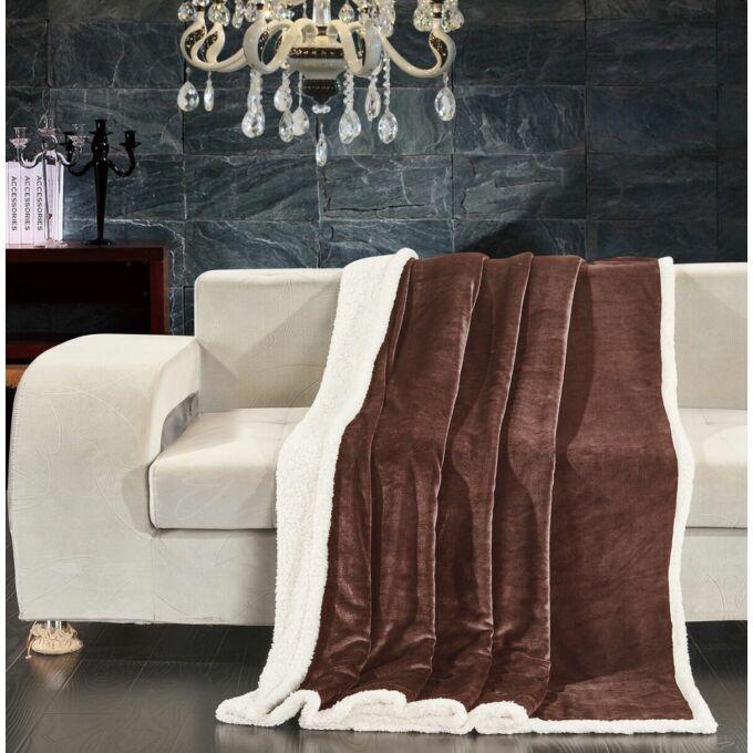 Teddy meleg serpa takaró - 150*200 cm - barna - két oldalas