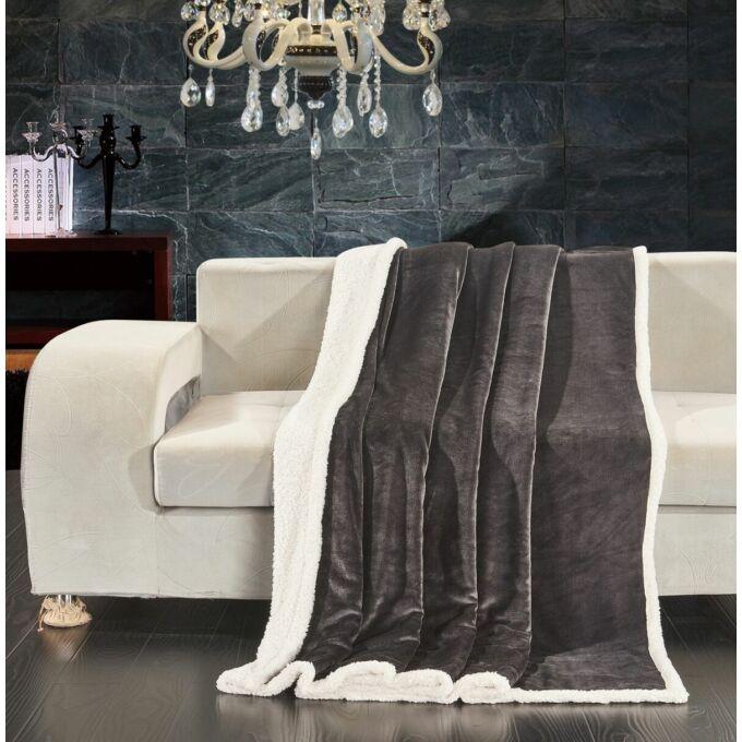 Teddy meleg serpa takaró - 150*200 cm - grafit- két oldalas