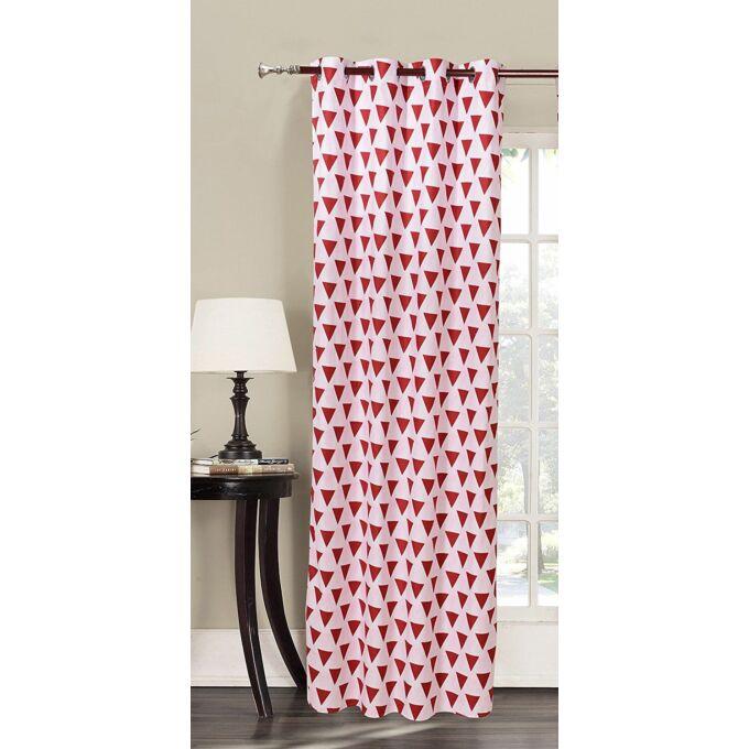 Triangles kész függöny - fehér-piros - 140*235 cm
