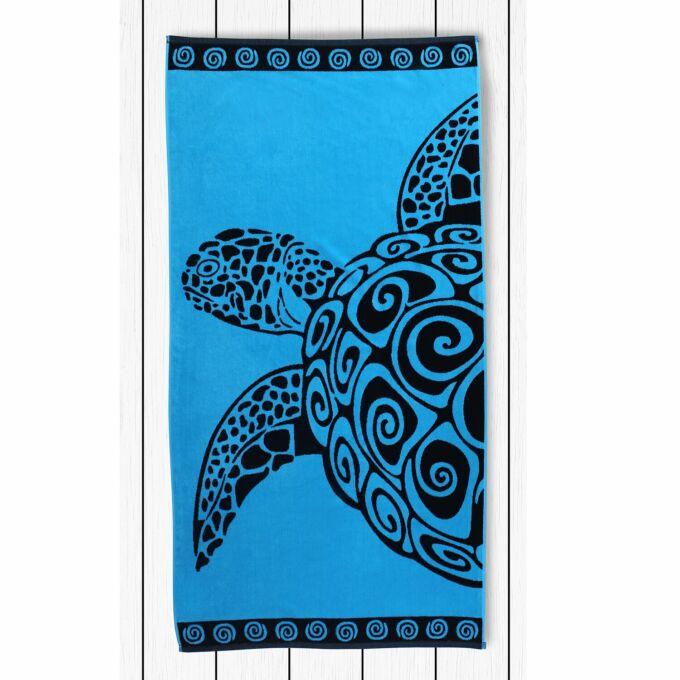 Strandtörölköző - 90*180 cm - Türkiz teknős (Turtle turquoise)