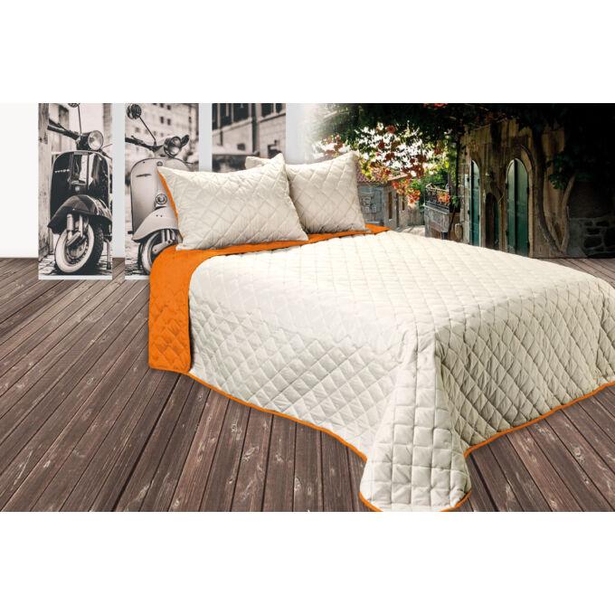 Gina kétoldalas ágytakaró - caffé latte-narancs - 210*240 cm
