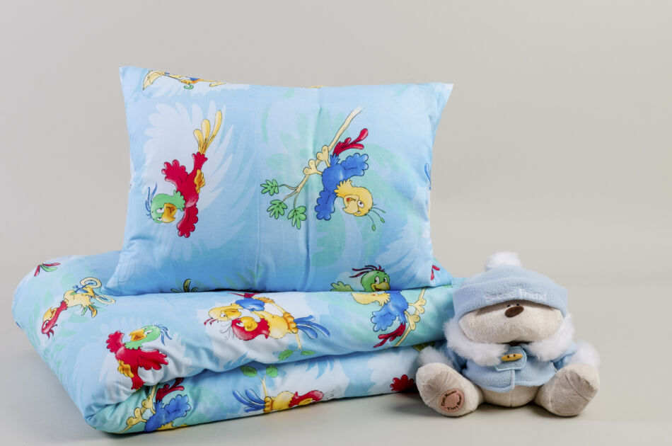 Image of 2 részes gyermek pamut ágyneműhuzat Parrot / Papagájos