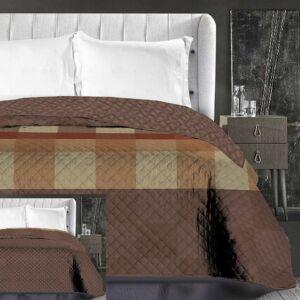 Arthur ágytakaró - 220*240 cm - barna-kockás, kétoldalas