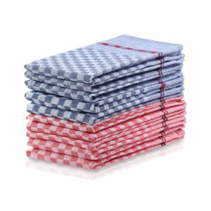 Konyharuha szett - 100% pamut - 50*70 cm - piros és navy kék (10 db)