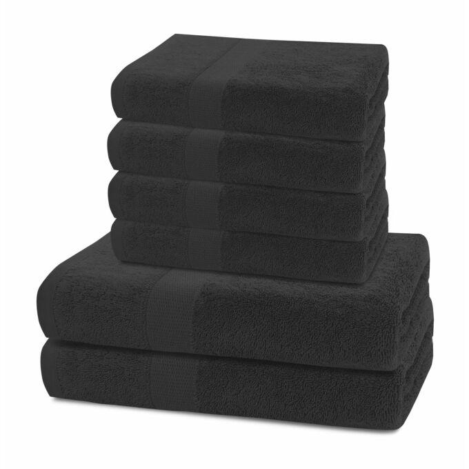 Marina 100% pamut törölköző - 6 db-os szett (2 db 70*140 cm + 4 db 50*100 cm) - fekete