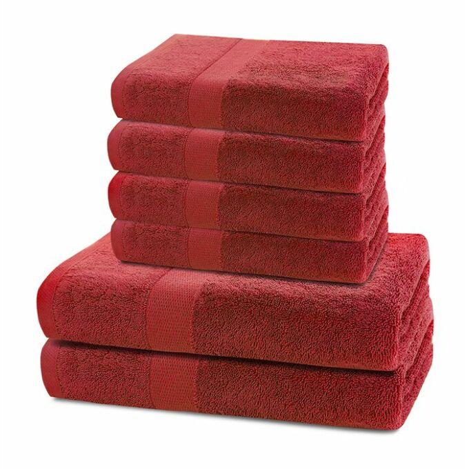 Marina 100% pamut törölköző - 6 db-os szett (2 db 70*140 cm + 4 db 50*100 cm) - piros