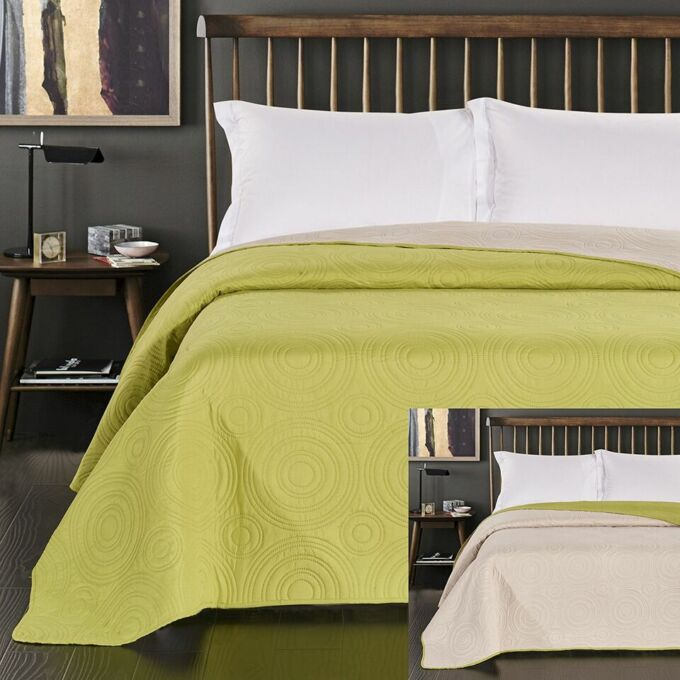 Anthony ágytakaró 170*210 cm - Limo-bézs, kétoldalas