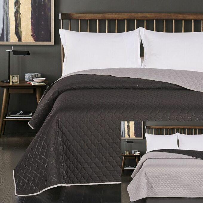 Axel ágytakaró - 220*240 cm - ezüst-fekete, kétoldalas