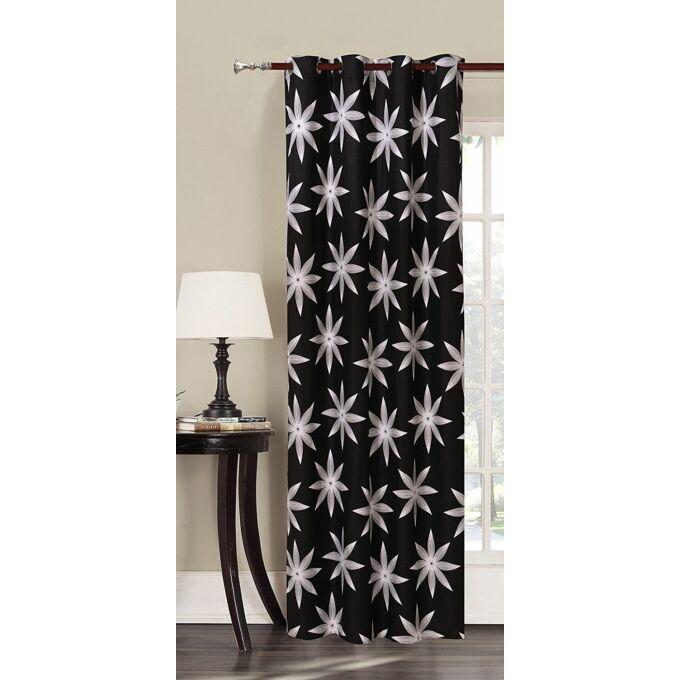 Alpin kész függöny - fekete mintás - 140*245 cm