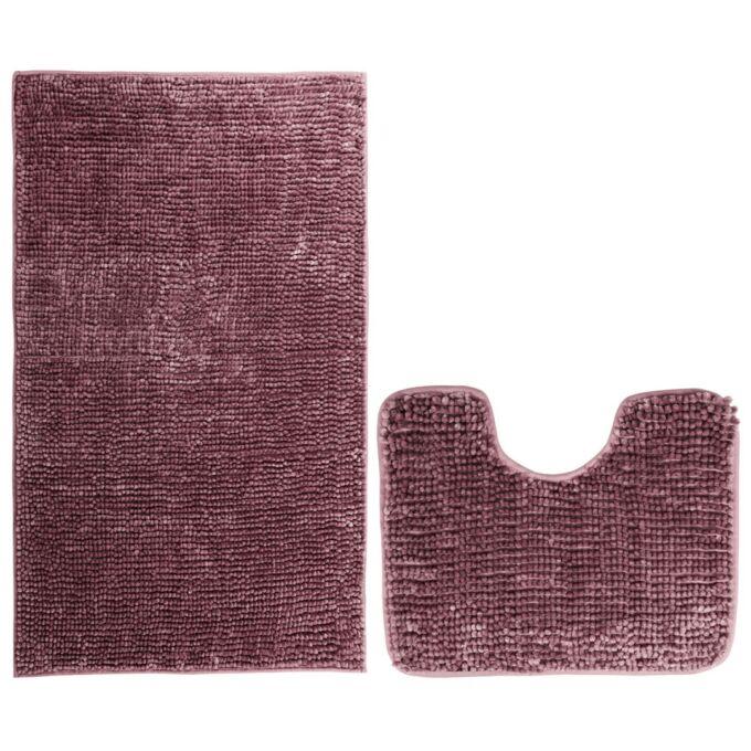 Bati fürdőszoba-toalett szőnyeg szett - csúszásgátlóval - mosható - 50×80 cm + 40×50 cm - mályva