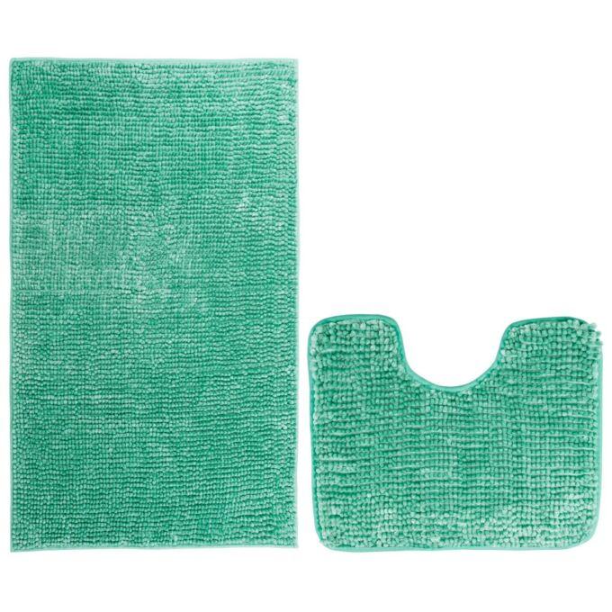 Bati fürdőszoba-toalett szőnyeg szett - csúszásgátlóval - mosható - 50×80 cm + 40×50 cm - zöld