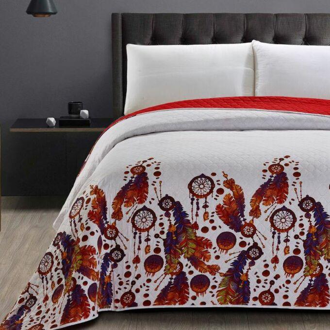 Boho ágytakaró - 240*260 cm - piros-fehér, kétoldalas