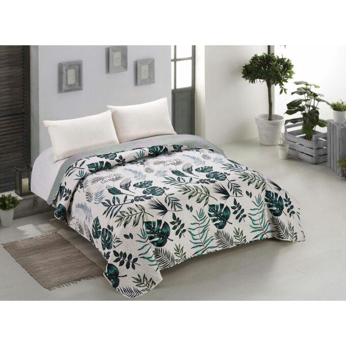 Botanique ágytakaró - 170*210 cm - zöld-bézs leveles, kétoldalas