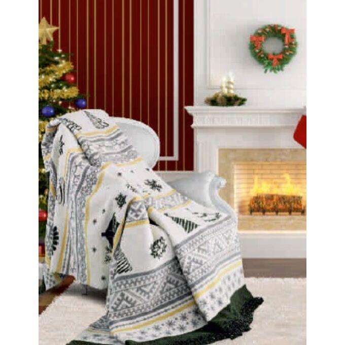 Pléd pamut-akril, mintás - Christmas tree - Karácsony