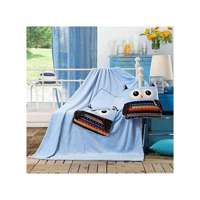 Gyermek pléd és ágytakaró egyben - 110 × 160 cm - égszínkék - bagoly