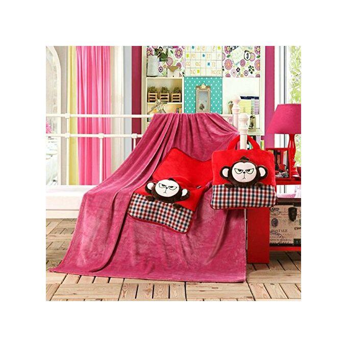 Gyermek pléd és ágytakaró egyben - 110 × 160 cm - bársonyvirág - majom