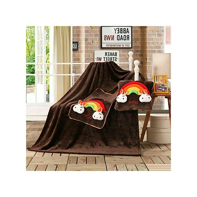 Gyermek pléd és ágytakaró egyben - 110 × 160 cm - barna - mosolyka