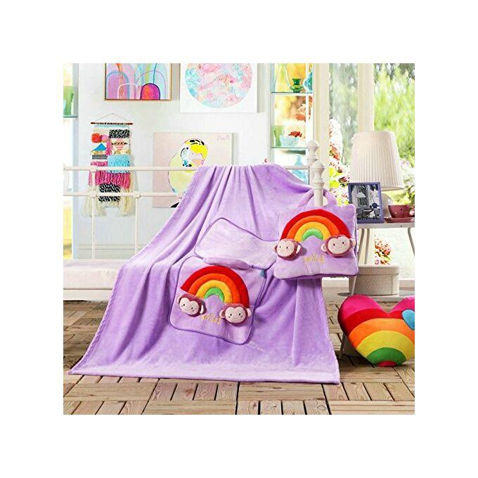 Gyermek pléd és ágytakaró egyben - 110 × 160 cm - lila - mosolyka