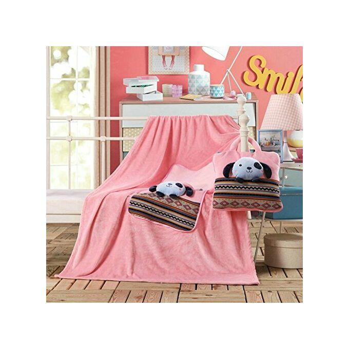 Gyermek pléd és ágytakaró egyben - 110 × 160 cm - rózsaszín - kutyus