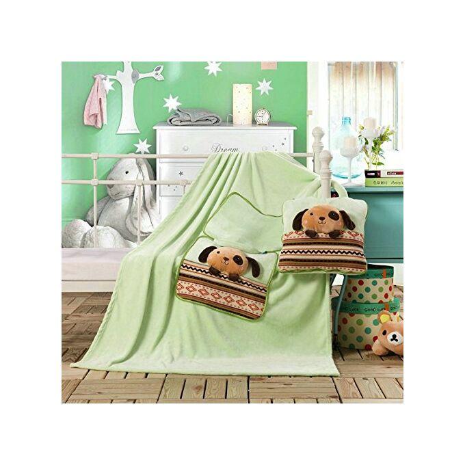 Gyermek pléd és ágytakaró egyben - 110 × 160 cm - világoszöld - kutyus