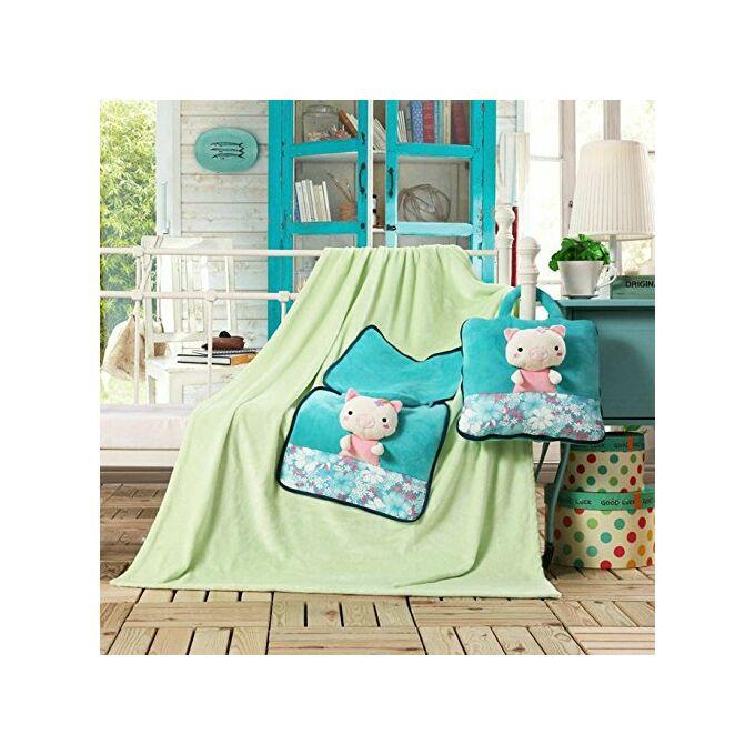 Gyermek pléd és ágytakaró egyben - 110 × 160 cm - világoszöld - malacka