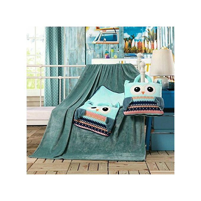 Gyermek pléd és ágytakaró egyben - 110 × 160 cm - zöld - bagoly
