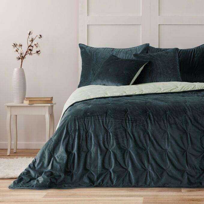 Daisy prémium ágytakaró - 220×240 cm - navy kék - krém - kétoldalas