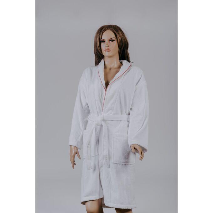 Naturtex Velúr fürdőköntös -női L - fehér - mályva paszpóllal