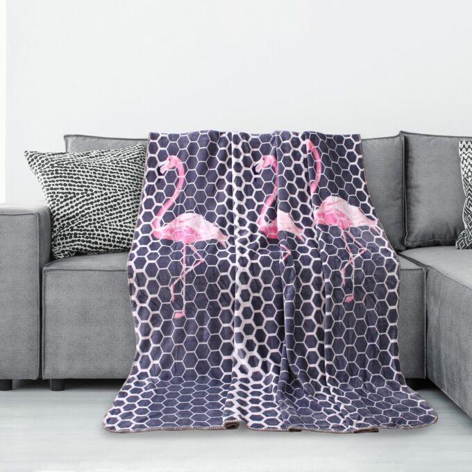 Polár pléd - 220*240 cm (extra nagyméret) - Flamingo