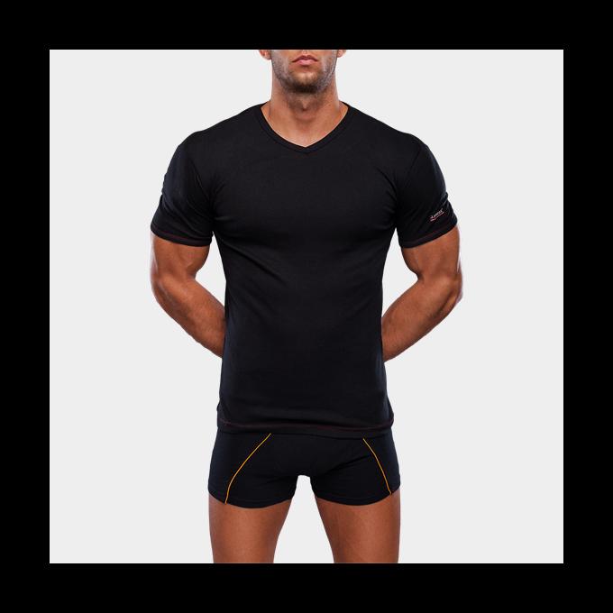 Alsópóló Férfiaknak V-Nyakú Rövid Ujjú - XL - fekete
