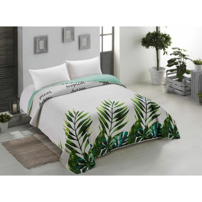 Makia ágytakaró - 240*260 cm - zöld-törtfehér-leveles, kétoldalas