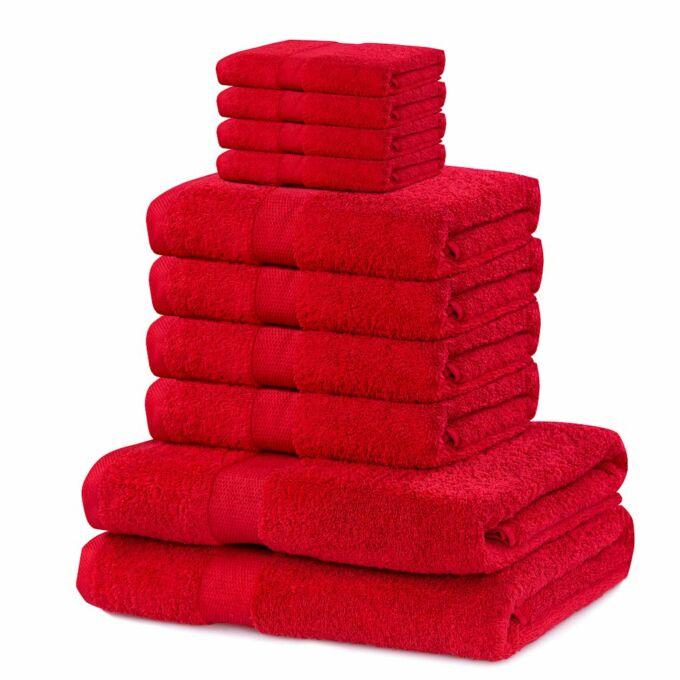 Marina 100% pamut törölköző - 10 db-os szett (2 db 70*140 cm + 4 db 50*100 + 4 db 30*50 cm) - piros