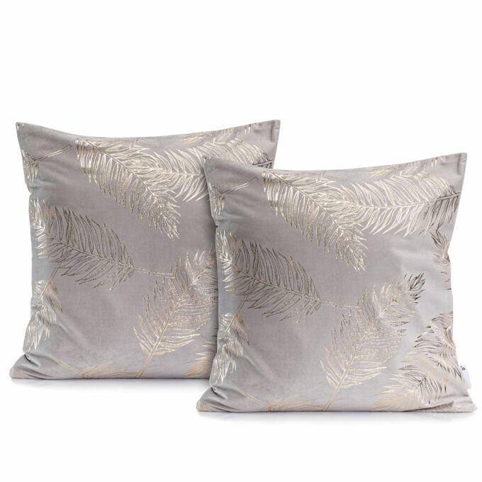 Palm ezüst díszpárna huzat - 45*45 cm - 2 darab / csomag - extra minőségű szatén